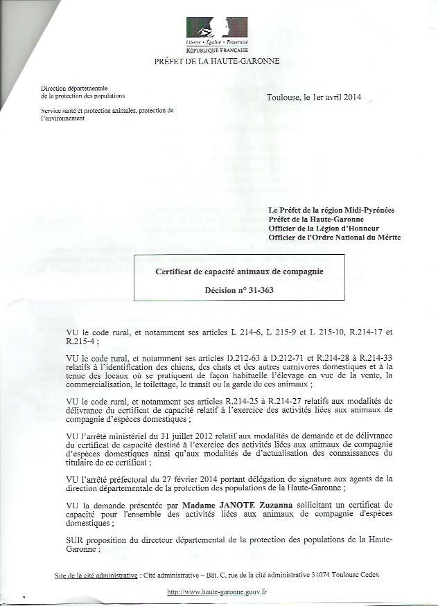 accord des services vétérinaire de la préfecture département protection des populations